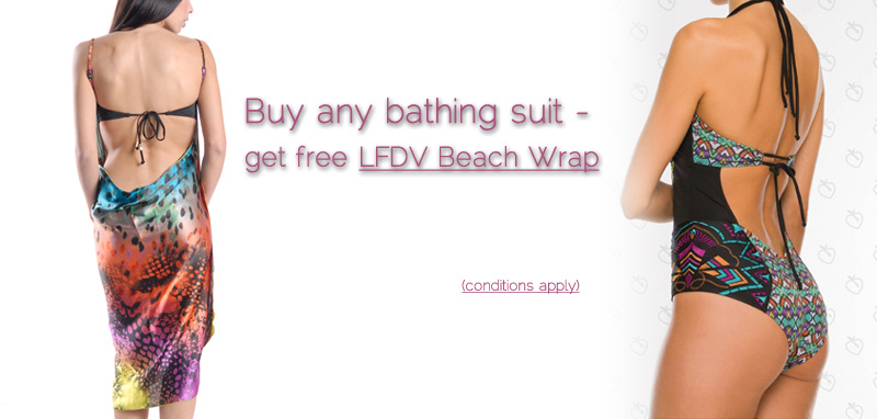 Get Free Les Fees du Vent Beach Wrap with a purchase of a Bathing Suit